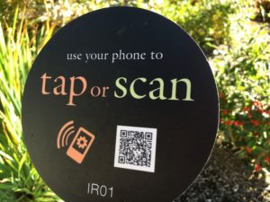Tap and Scan needs QR App,visiting the Bellevue Botanical Garden
